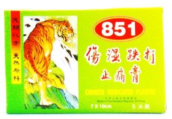 851 Chinese Medicated Plaster - 5 Sheets (7cm X 10cm)