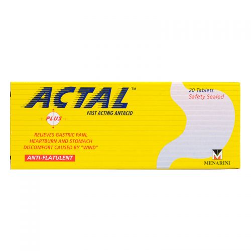 Actal Plus Fast Acting Antacid - 20 Tablets