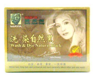 Maya Wash & Dye Natural Black - 12 Sachets X 20ml