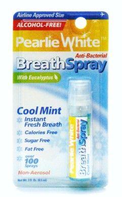 Pearlie White Anti-Bacterial Breath Spray (Cool Mint With Eucalyptus) - 3fl. Oz (8.5 ml)