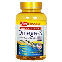 VitaRealm Hyper Strength Omega 3 Alaska Tuna Fish Oil  1000mg - 100 Softgels