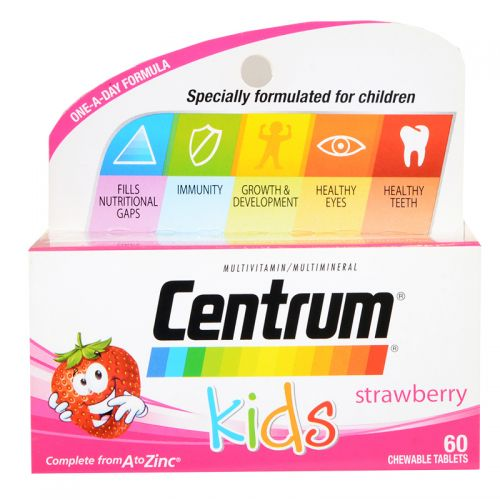 Wyeth Centrum Kids - 60 Strawberry Chewable Tablets